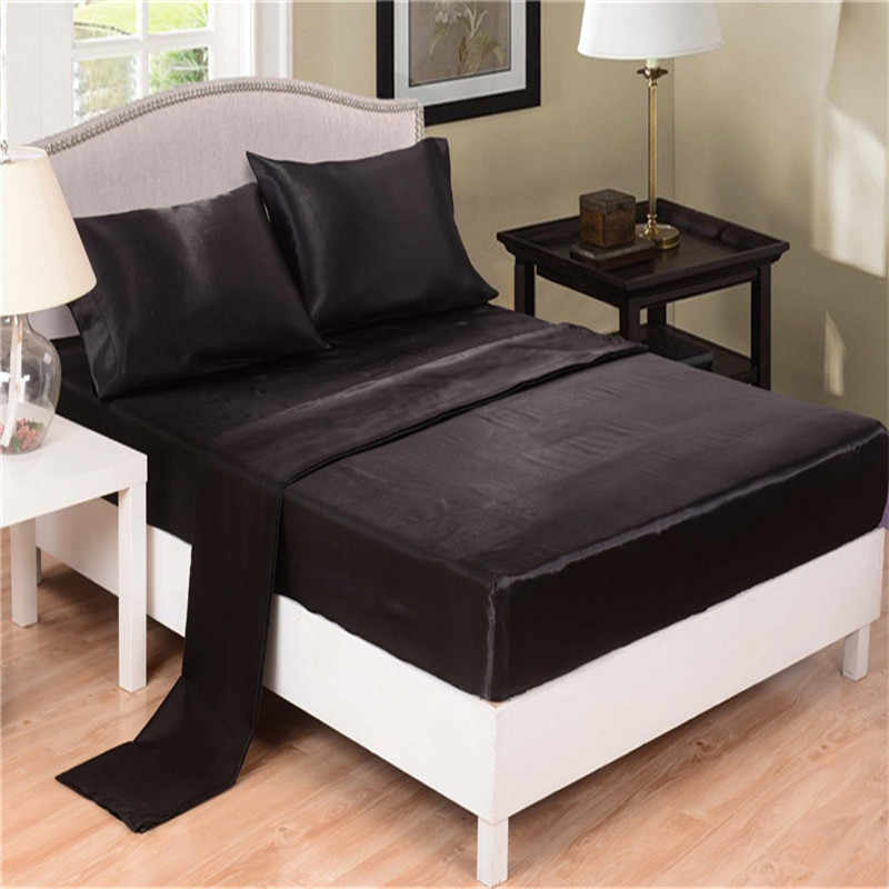 Home Textile Black Solid Silk Satin 4 Pcs Twin/Full/Queen/King Luxury Bedding Sets Bed Linen Sheet Set Flat Sheet+Fitted Sheet
