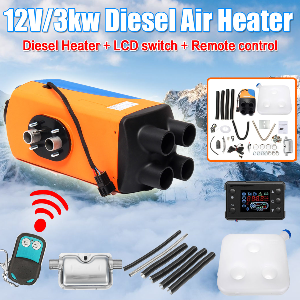 KROAK 12V Car Heater 3KW Air Diesels Heater Parking Heater With LCD Remote Control + Silencer for Car Heating Accessories балетки age of innocence age of innocence mp002xc004ry