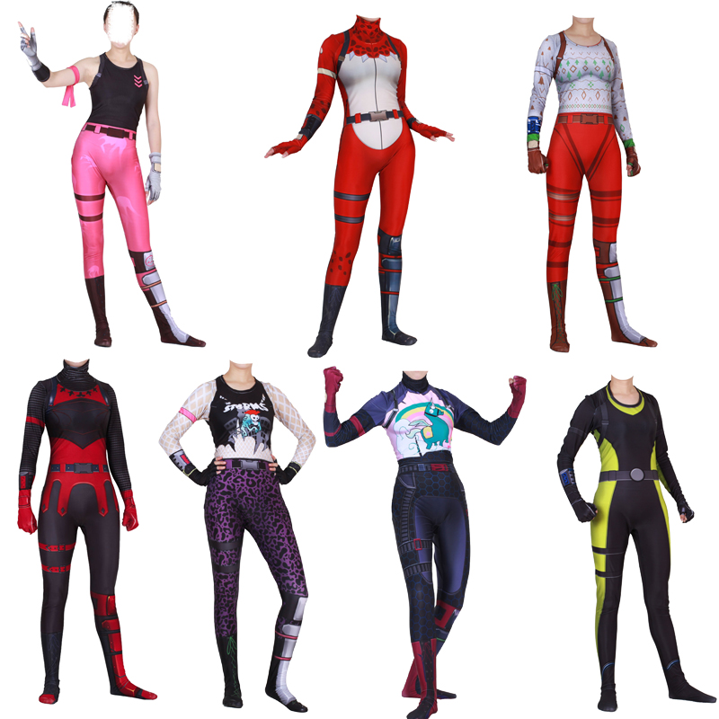 Adult Fortress Night Costume Fortnight Cosplay Costume Red Knight Red Nosed Raider Reef Ranger Rose Team Leader Costume Jumpsuit