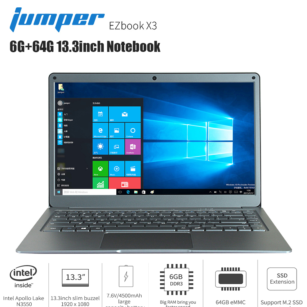 Original Jumper EZbook X3 Laptop 13.3 Inch Windows 10 Intel Apollo Lake N3350 Quad Core 1.1GHz 6GB RAM 64GB EMMC HDMI