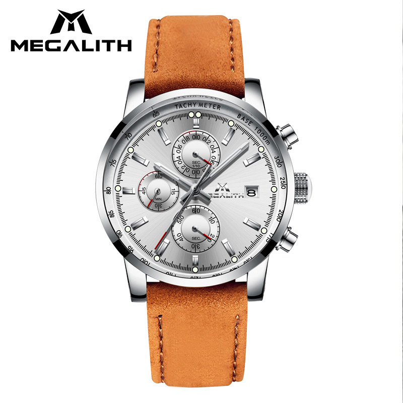 MEGALITH Luxury  Mens Waterproof Quartz Watch Men Genuine Leather Strap Watches Students Boys Wristwatches Relogio MasculinoMEGALITH Luxury  Mens Waterproof Quartz Watch Men Genuine Leather Strap Watches Students Boys Wristwatches Relogio Masculino