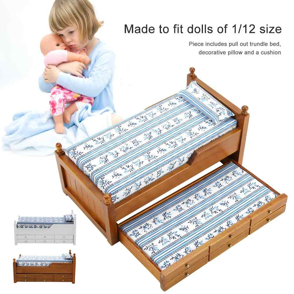 Simulation Children's Bed Toys for 1:12 Doll House Mini Furniture Model Toy Bed Wooden Girl's Favourite with Sliding Drawers