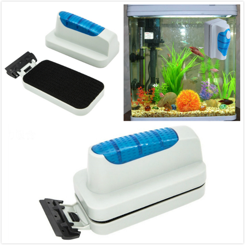 Magnetic Brush With Scrapers Practical Floating Aquarium Fish Tank Ultra Glass Algae Curve Cleaner Window Magnets Cleaning Tools