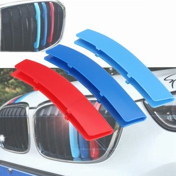 3pcs 3D Car Racing Grill Sport Stripe Clip ABS Decal Sticker For BMW 3 Series F30 F31 F35 E90 5 Series F10 F18 E60 X5 X6 E70 E71 image
