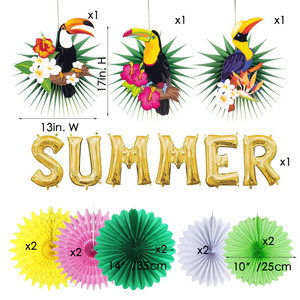Image 2 - Tropical Party Decorations Hawaiian Summer Decoration Set  Palm Leaves Toucan Pattern Happy Birthday Luau Beach Party Backdrop