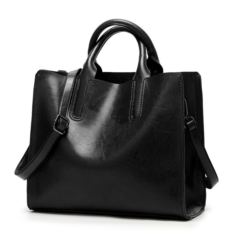 Genuine Leather Bags Women Women Shoulder Bags Fashion Women Handbags Oil Wax Leather Large Capacity Tote Bag Casual 2019 C836