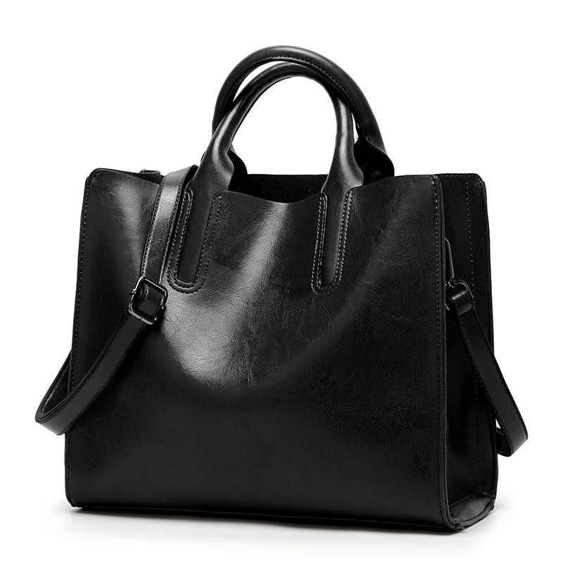 Sacos de couro genuíno das mulheres bolsas de ombro moda feminina bolsas de couro de cera de óleo grande capacidade sacola casual 2019 c836