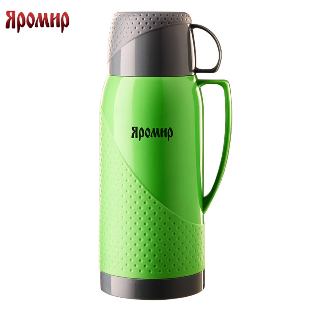 Фото - Vacuum Flasks & Thermoses Yaromir YAR-2023C/1 Green/Grey thermomug thermos for tea keep сup stainless steel water mug food flask 1 0 lcd water resistant hour meter for motor more green