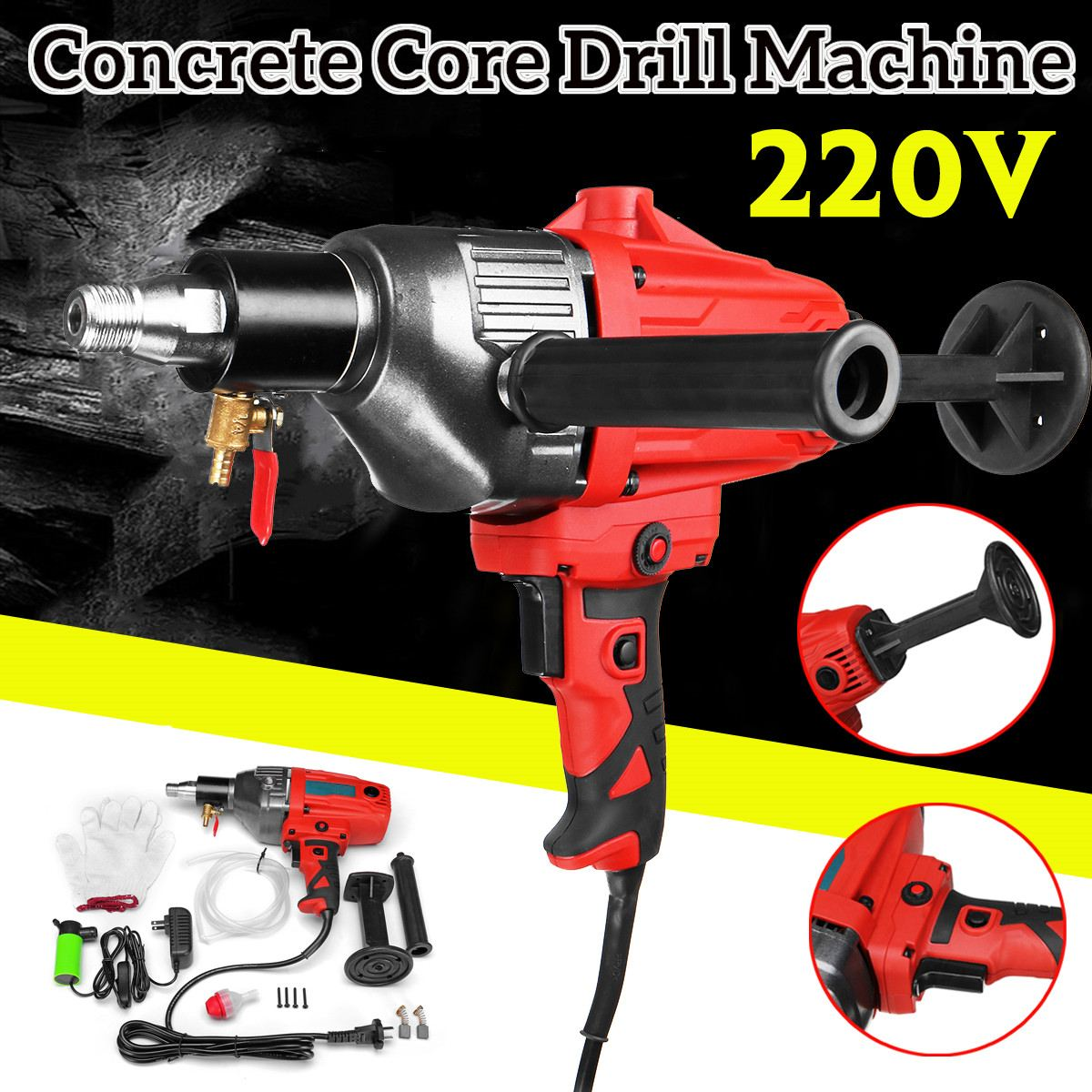 220V 1600W Diamond Concrete Core Drill Hand Held Machine Set 110mm Wet Drilling Powerful Concrete Core Drill Machine Power Tool