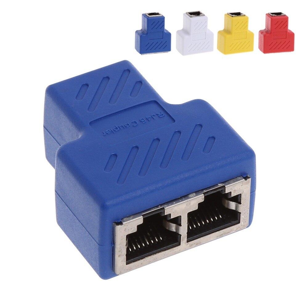 1 pièces Nouveau 1 À 2 Rj45 Splitter Extender réseau lan ethernet connecteur de câble Adaptateur T/Rouge/Jaune/Blanc/ royal Bleu