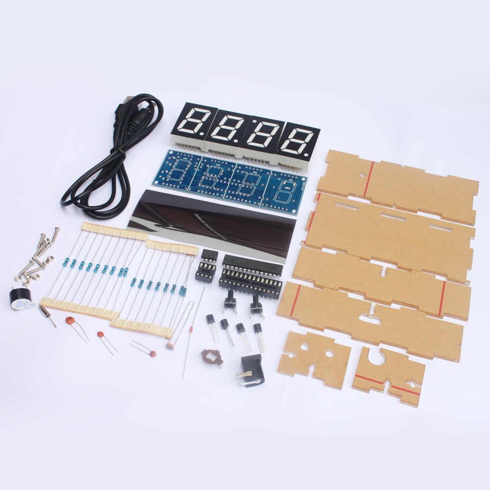 المدمجة 4 أرقام DIY الرقمية ساعة ليد عدة ضوء التحكم درجة الحرارة التسجيل عرض الوقت مع حالة شفافة