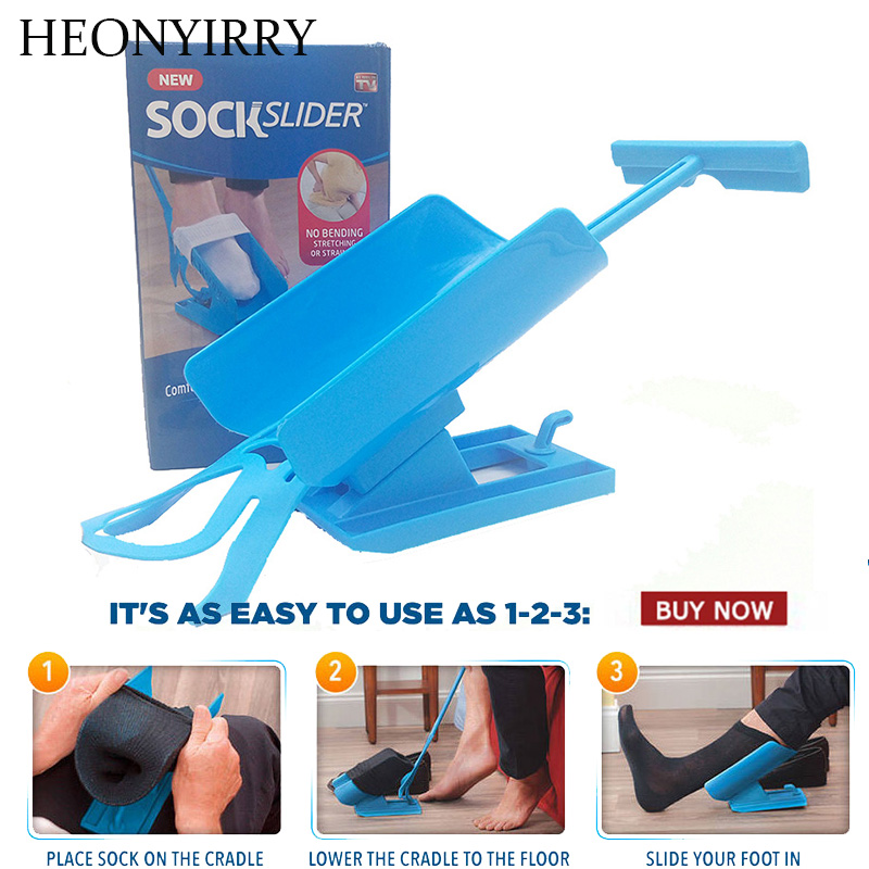 1pc Sock Slider Aid Blue Helper Kit Helps Put Socks On Off No Bending Shoe Horn Suitable For Socks foot brace support sock slider aid blue helper kit help