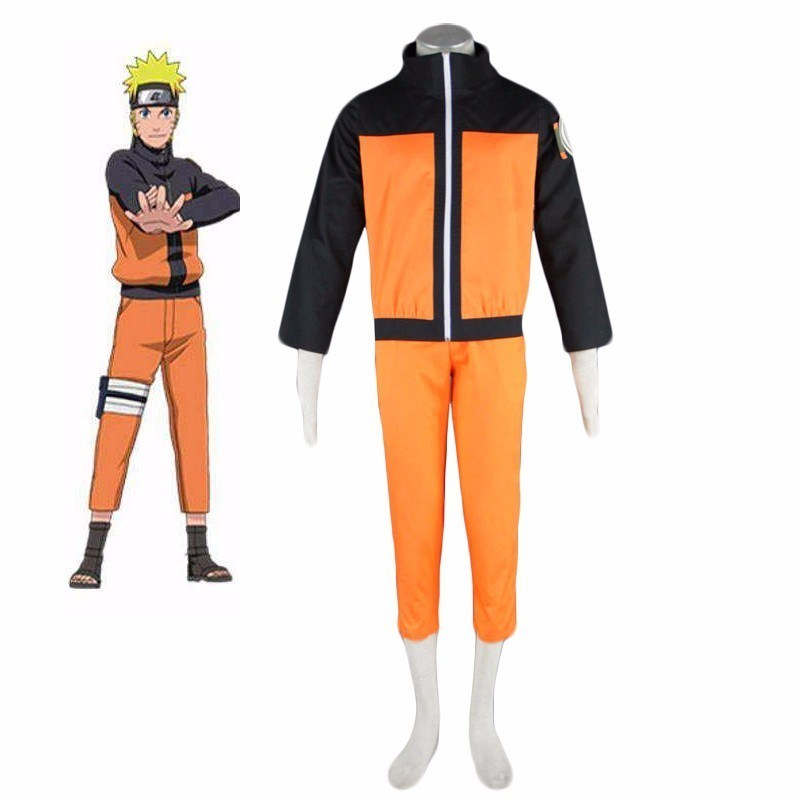 Japanese Anime Uzumaki Naruto Cosplay Costume Naruto Shippuden Ninja Uniform Boys Orange Casual Naruto Outfit