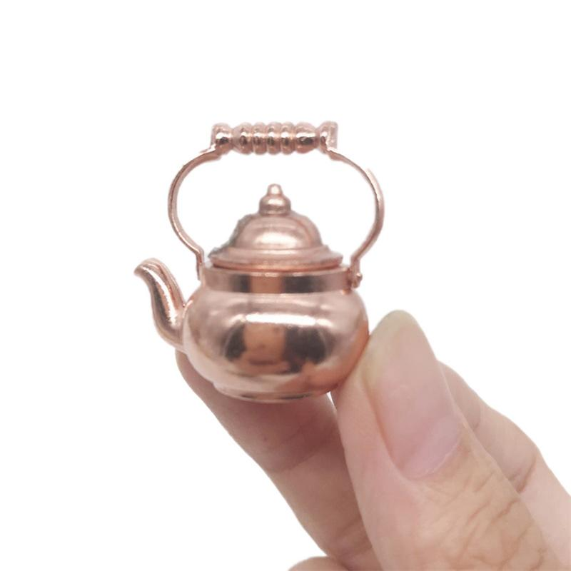 Home Decoration Mini Metal Water Kettle Ornaments Alloy Doll House Decoration Gold Vintage Pocket Kettle Quick Delivery Durable in Figurines Miniatures from Home Garden
