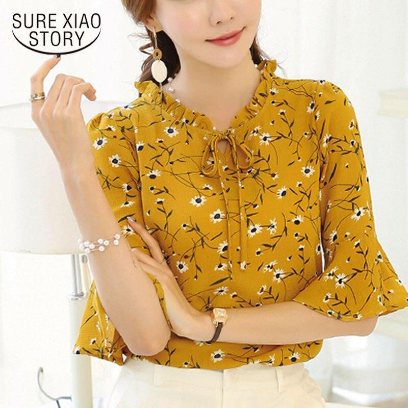 2017 nova moda Coreano chiffon ocasional camisa feminina gola Redonda soltas impressão flor casual blusa mulheres 31J 25