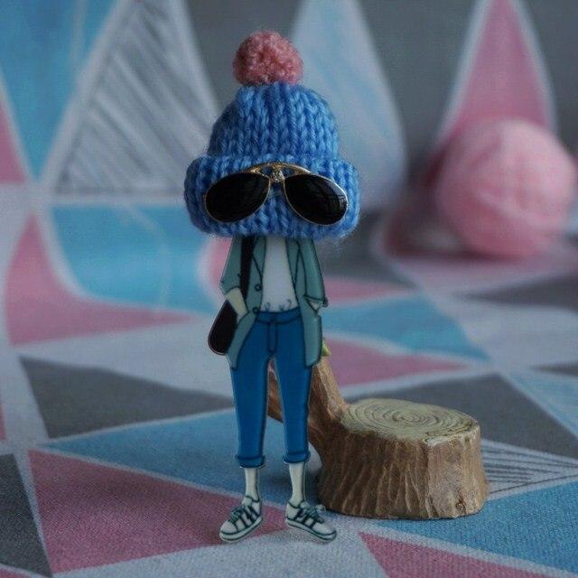 Donna uomo moda Spilla di vetro carino cappello blu spille Del Fumetto Spilli di Goccia-Trasporto