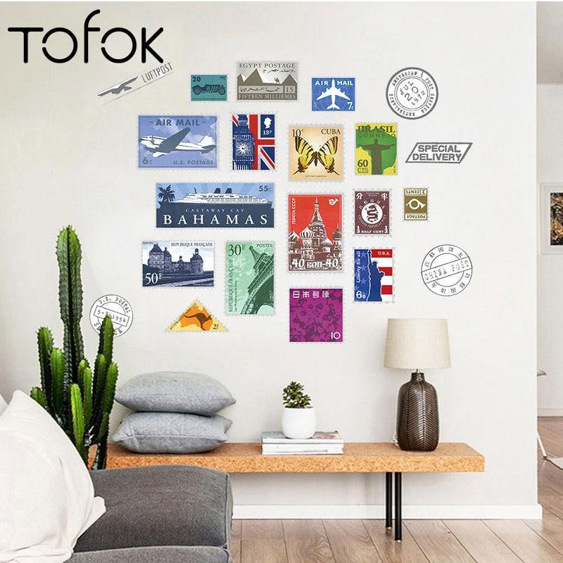 Us 3 11 22 Off Tofok Retro Postage Stamps Diy Wall Sticker City Travel Wall Decals Bedroom Sofa Living Room Closet Door Wallpaper Home Decor In Wall