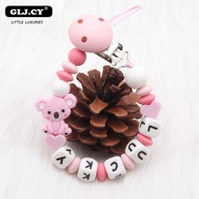 New Cute Koala Personalized Name DIY Baby Pacifier Clip Edible Grade Silicone Newborn Holder Must-have Toy Gift Hand Made