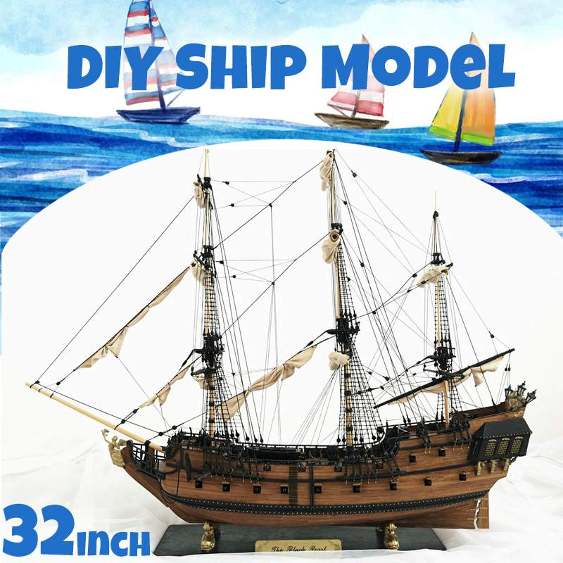 "DIY Handmade Assembly Ship 32"" Scale Wooden Sailing Boat Model Kit Ship Handmade Assembly Decoration Gift For Children Boy"