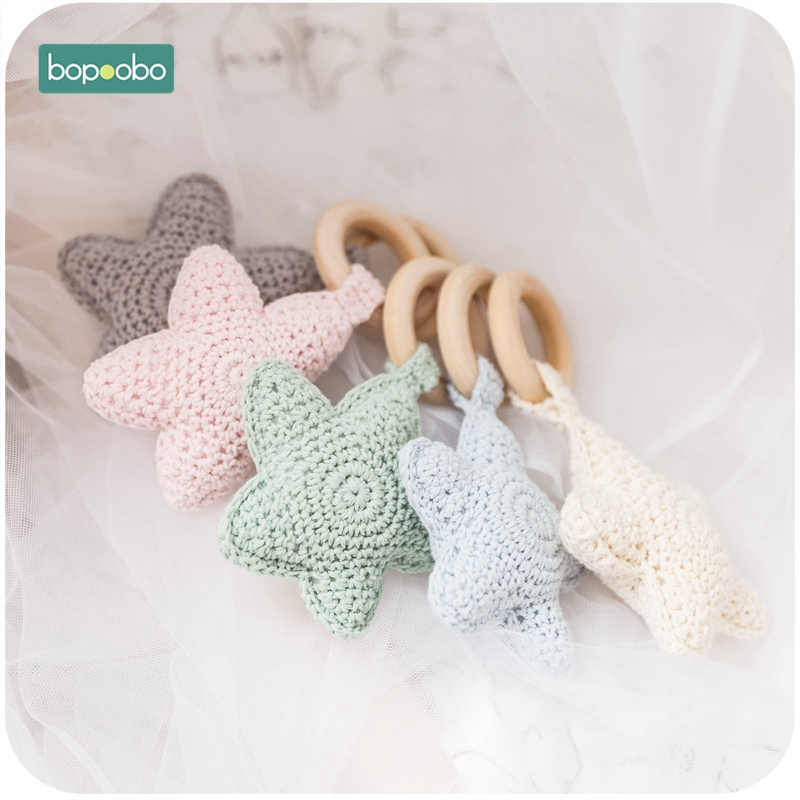 Bopoobo 5pc Baby Wood Ring  Candy  Color Star Teethers 0-12months Baby Teething Toy  Can Chew Beads Handbell Baby Stroller Gifts