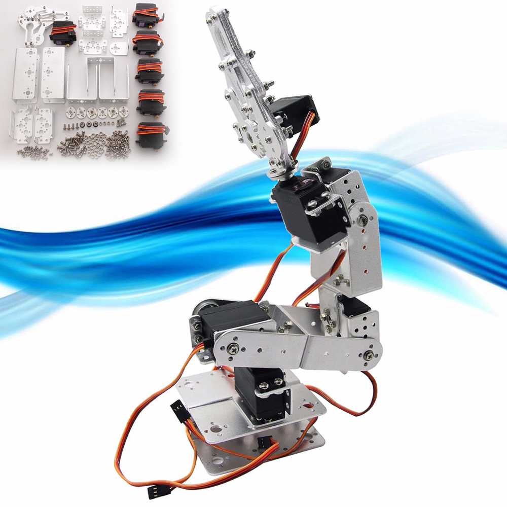 Active Components Diy Aluminium Robot 6 Dof Arm Mechanical Robotic Arm Clamp Claw Mount Kit W/servos Horn For Arduino-silver Integrated Circuits High Quality And Inexpensive