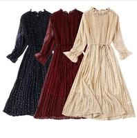 2019 Spring Long Sleeves Polka Dots Chiffon Dress Korean Fashion Pleated Long Dress Floral Print Spring Vintage Dress