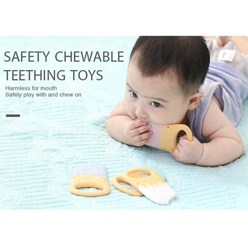 Купить с кэшбэком Chenkai 10pcs Silicone Ice Cream Teether DIY Cartoon Baby Pacifier Dummy Chewing Sensory Montessori Teething Toy Accessories
