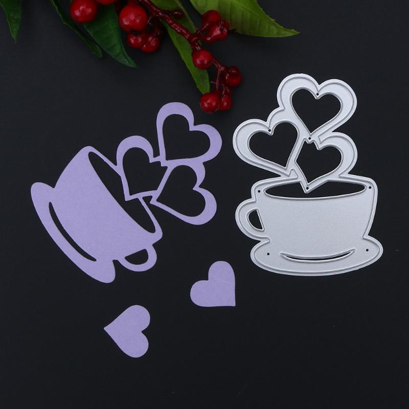 love heart coffee cup cutting die diy metal scrapbooking