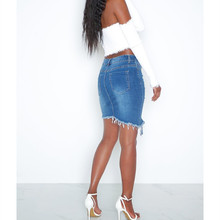 2019 New Summer Hole Mini Denim Skirt Women Fashion Casual High Waist Skirts Streetwear Irregular Sexy Cowgirl Skirt