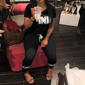Image 2 - Women Pink Letter Print Sexy Tracksuit Plus Size Casual 2 Piece Set S XXXL Summer Tops+Skinny Pants Two Piece Outfit