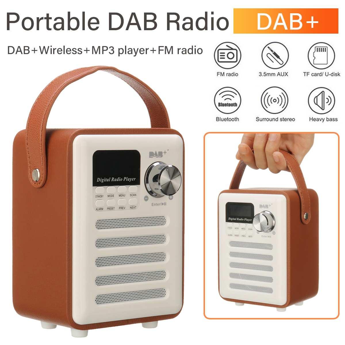 Portable Bois DAB/DAB + radio numérique Récepteur haut-parleur bluetooth FM Diffusion TF AUX MP3 Musique Lecteur Multi-fonction radio DAB