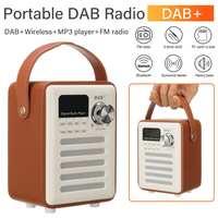 Portable Wood DAB/DAB+Digital Radio Receiver bluetooth Speaker FM Broadcast TF AUX MP3 Music Player Multi function DAB Radio