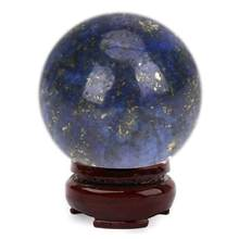 2019 New 20mm Crystal Sphere Natural Lapis Lazuli Crystal FeiShui Ball Healing Sphere Large Crystal Healing Stone home decor(China)