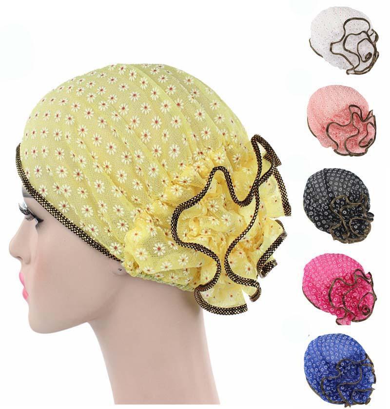 Women Indian Hat Muslim Floral Print Lace Stretch Turban Cap Chemo Hat Head Scarf Headwrap Islamic Bonnet Ramadan   Beanie   Fashion