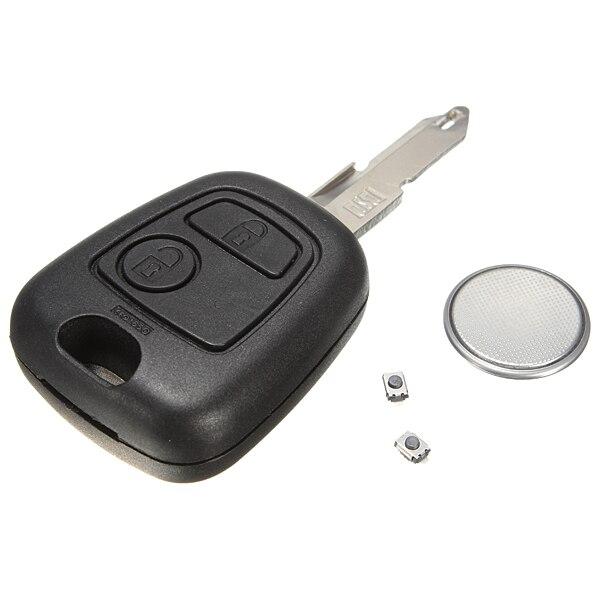 2 Knop Afstandsbediening Sleutel Case Shell Schakelaar Reparatie Kit Voor Peugeot 206 Elegante Vorm