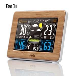 FanJu FJ3365 EU/US Plug Weather Station Multi-function Digital Clock Temperature Humidity Moon Phase Desk Table LCD Alarm Clock(China)