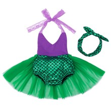 AmzBarley Little Mermaid Arie baby girl romper Baby Summer princess Cosplay Party Bathing Set