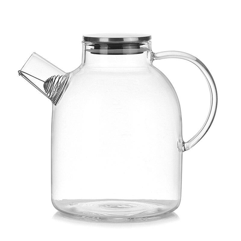 Jarro quente da água TOD-1800ml, jarro transparente resistente do suco do café do bule da chaleira de vidro com filtro inoxidável funcional