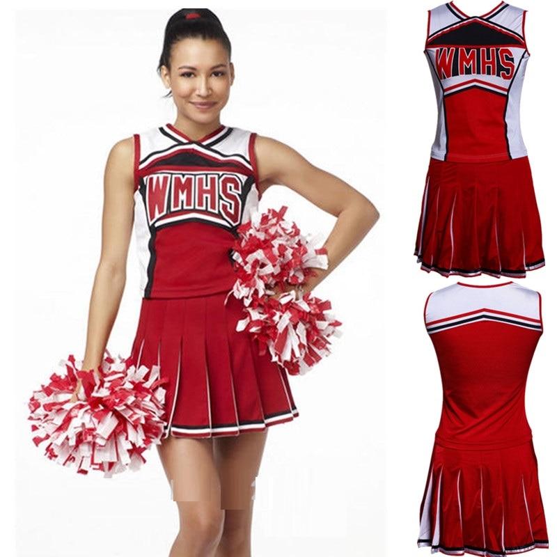 With 2 Pcs Pom Poms High School Cheer Musical Baseball Cheerleader Costumes Outfit Team Dress Dancing Kids Cheerleader Uniforms