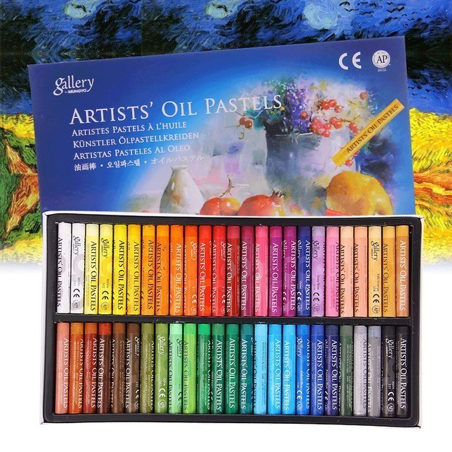 MUNGYO MOPS Oil pastels 12/25/48 Colors Round Shape Oil Pastel for Artist Student Graffiti Painting Drawing Pen Soft Crayon 2