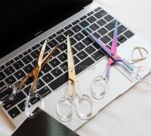 Ciseaux acryliques colorés en or, fournitures de bureau pour étudiants, accessoires en métal transparent