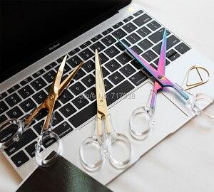 Image 1 - Ciseaux acryliques colorés en or, fournitures de bureau pour étudiants, accessoires en métal transparent