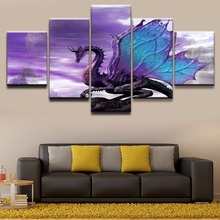 Canvas Painting Wall Art Home Decor HD Prints Framework 5 Pieces Dragon Fantasy Purple Pictures Modern Bedroom Poster