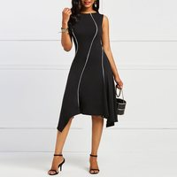 Women Dress Elegant Simple Striped Fashion Casual High Street Black Slim Sleeveless Sexy Asymmetric Hem Ladies Summer Dresses