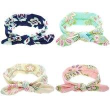 цена на 2 PIECES Fashion Newborn Hair Accessory Spandex Headband For Kid Floral Print Hair Bandanas Cute Knot Hair Band Cat Ear Headband