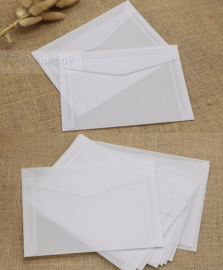 Image 2 - 50pcs Translucent Blank White Parchment Paper Envelope Postcards Invitations Cover Envelopes-in Paper Envelopes from Office & School Supplies