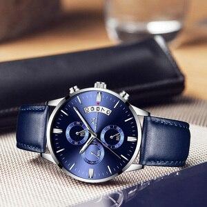 Image 3 - MEGALITH ساعة عادية بسيطة للرجل جلد طبيعي ساعات المعصم مقاوم للماء كرونوغراف تاريخ التقويم ساعات كوارتز ساعة الذكور