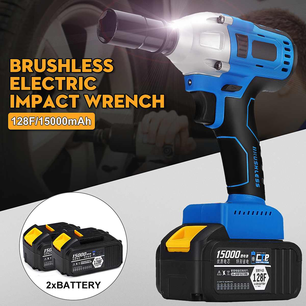 128/188/208F 30000 mAh Brushless 1/2 Ferramenta de Tomada de Chave de Impacto Sem Fio chave de Fenda Elétrica 220 V Com 2 pilhas Luzes LED