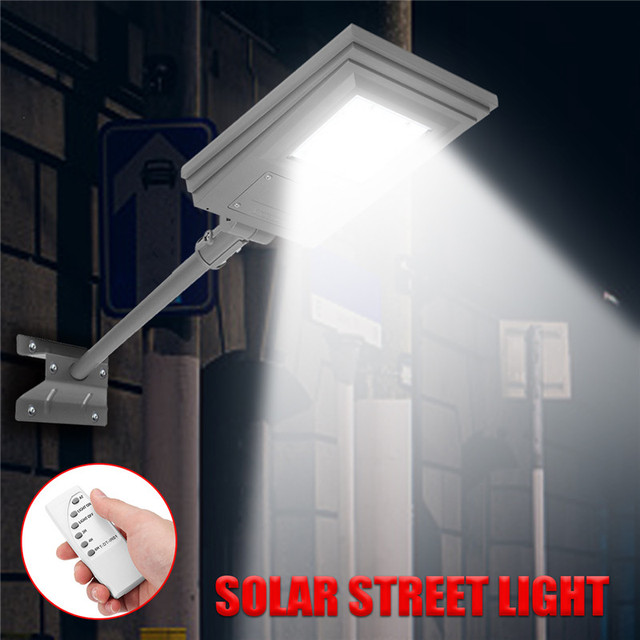 Smuxi 20W Solar Powered Street Light Walkway Light With Remote Controller With Bracket Outdoor Garden Security Lamp