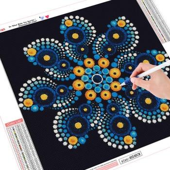 HUACAN Diamond Painting Mandala Full Square Diamond Embroidery Sale Flower Rhinestone Picture 5D DIY Diamond